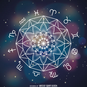 Horoscope signs mandala drawing - Free vector #369215