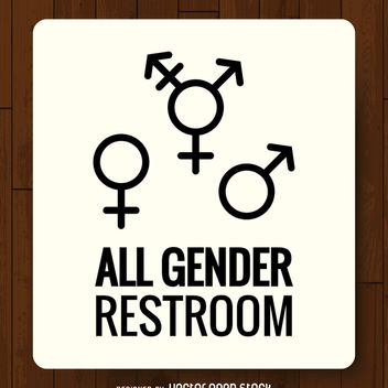 LGBT genders bathroom label - Free vector #369465