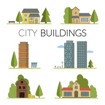 Homes and buildings illustration set - Free vector #369475