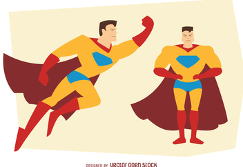Man superhero posing illustrations - vector gratuit #369485