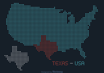 Free USA Texas Dotted Vector Map - Kostenloses vector #369505