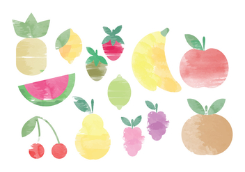 Vector Watercolor Fruit Elements - Free vector #369785