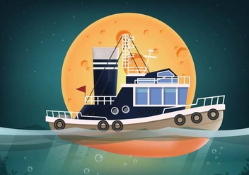 Tugboat Vector Seascape - vector gratuit #369915