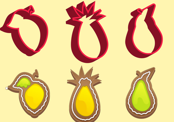 Cookie Cutter Fruit Vector Set C - Free vector #370295