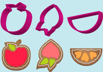 Cookie Cutter Fruit Vector Set - Free vector #370305