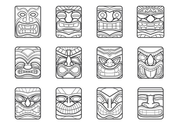 Hawaii Tiki Mask Vector Pack - Free vector #370475