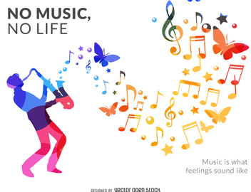 Musician silhouette poster - Free vector #370675