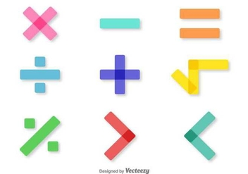 Vector Colorful Math Symbols Set - Free vector #370995