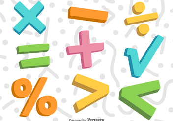 Vector 3D Colorful Math Symbols - vector gratuit #371085