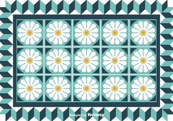 Tiles With Cute Flowers Vector Background - Free vector #371205