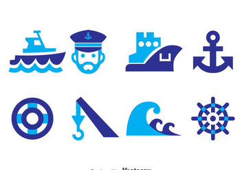 Nautical Blue Icons Vector - бесплатный vector #371325