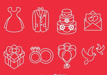Wedding Line Icons - vector #371375 gratis