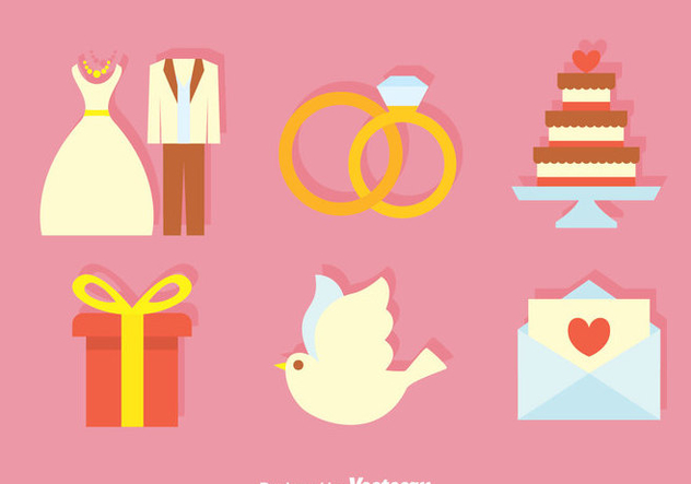 Wedding Flat Icons - бесплатный vector #371495