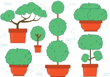 Free Bonsai Tree Vector Set - Free vector #371605