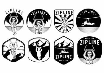 Zipline Badge Set - vector gratuit #371685