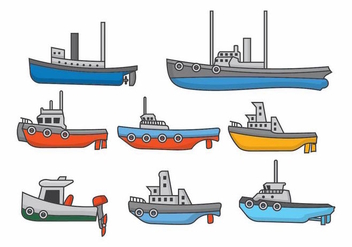 Tugboat Set - vector #371735 gratis