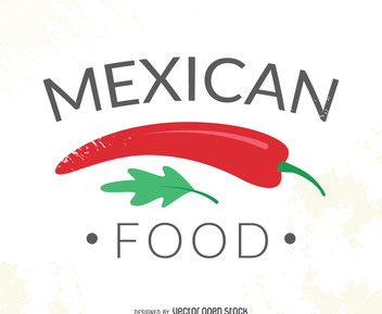 Mexican food logo with chile - vector gratuit #371965