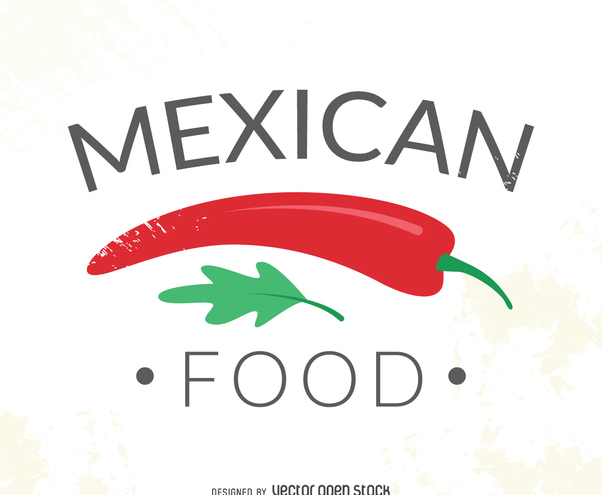 Mexican food logo with chile - Free vector #371965
