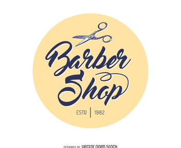 Barber shop circle logo - Free vector #371975