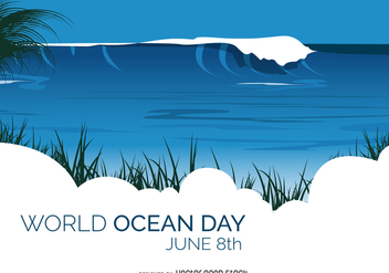 World Ocean Day beach card - бесплатный vector #371985