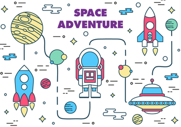 Free Space Adventure Vector Illustration - vector gratuit #372125