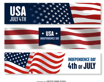 US Independence Day banner set - vector gratuit #372285