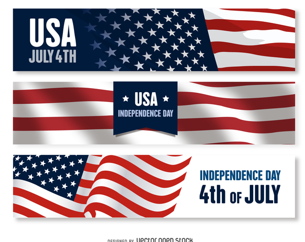 US Independence Day banner set - бесплатный vector #372285