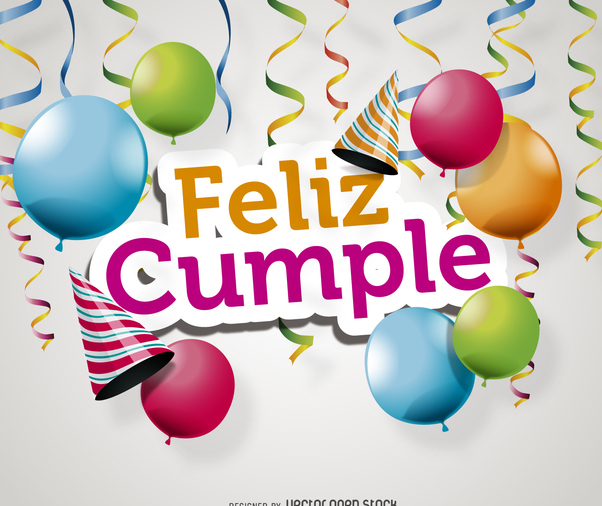 Feliz cumple card - vector gratuit #372295