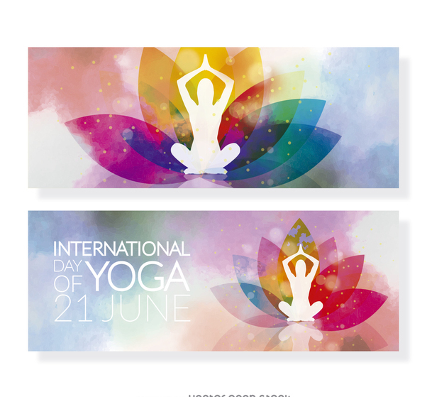 Colorful Yoga Day banner set - Free vector #372315