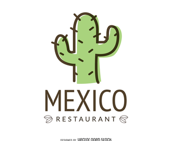 Mexican food logo with cactus - vector gratuit #372365