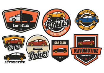 CAR VINTAGE BADGE - vector #372465 gratis