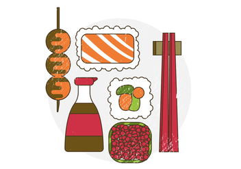 Vector Japanese Food - vector #372505 gratis