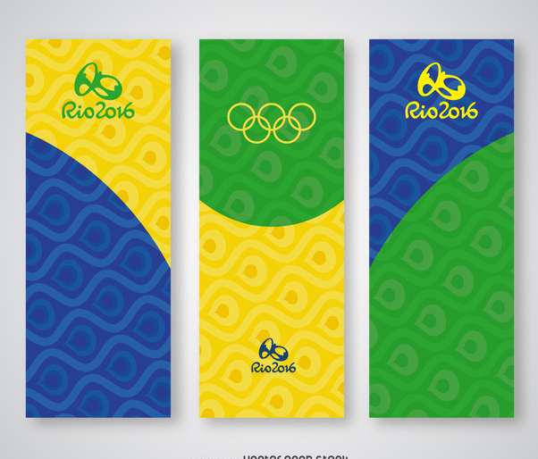 Rio 2016 vertical banner set - vector gratuit #372525