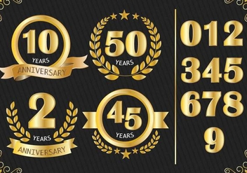 Anniversary Badges Vector - бесплатный vector #372835