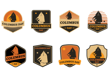 Columbus Day Badge - vector gratuit #372915