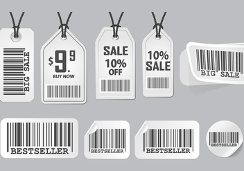 Barcode Advertisement Sticker Design Vector set - vector gratuit #372935