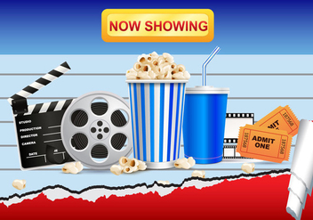 Realistic Cinema Movie and Popcorn Vector - vector gratuit #373005