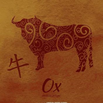 Ox drawing chinese horoscope - vector gratuit #373045