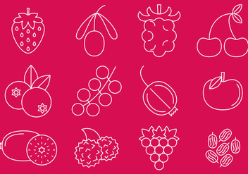 Berries Line Icons - vector #373165 gratis