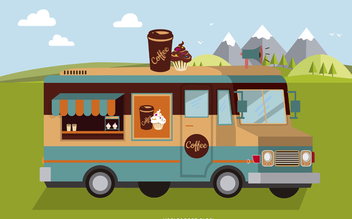 Flat food truck illustration - vector gratuit #373495