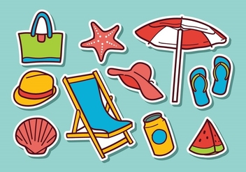 Free Beach Sticker Vectors - vector gratuit #373715