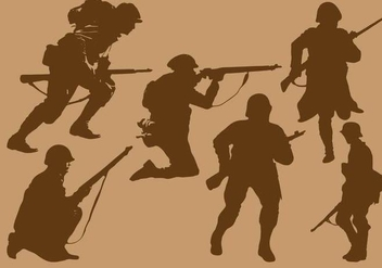 World War 2 Soldier Silhouette Vectors - Free vector #373725