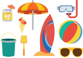 Free Beach Theme icons Vector - Free vector #373775