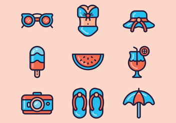 Beach Day Icon Set - vector gratuit #373825
