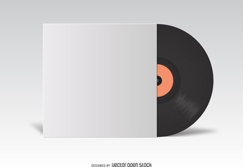 Vinyl LP cover white mockup - vector gratuit #373975