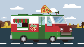 Pizza foodtruck on the road - бесплатный vector #373985
