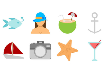 Free Beach Theme Icon Vector - vector gratuit #374055