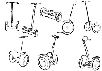 Free Set Of Electric Scooter - vector gratuit #374195