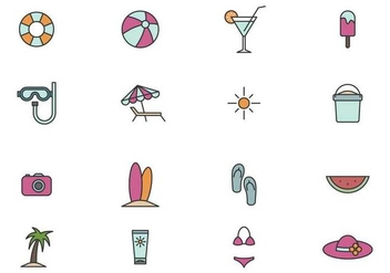 Outline Beach Icon Set - Free vector #374205