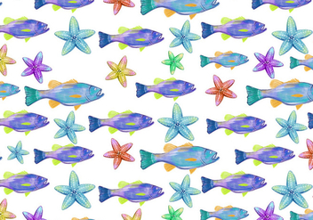 Free Vector Watercolor Bass Fish Background - бесплатный vector #374235